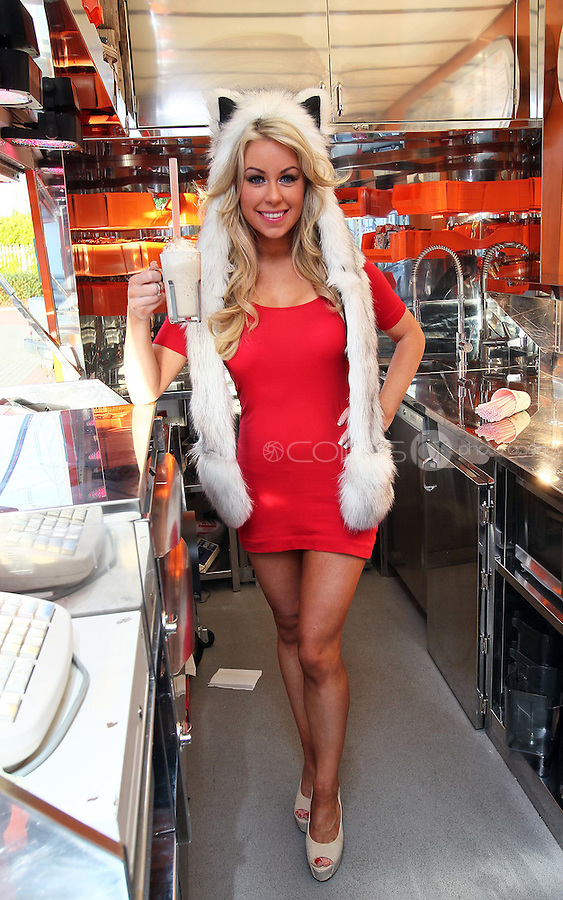 07/12/11 ***NO REPRODUCTION FEE***Model Tiffany Stanley pictured at Eddie Rockets Diner, Walkinstown this morning where she launched the Eddie Rocket's Christmas Pudding Shake, which goes on sale at City Dinners and Shake Shops nationwide today..The shake includes three scoops of 100% Irish Ice Cream and a chunk of Plum Pudding, hand dipped and topped with Whipped Cream and Cinnamon,.Every time  a Christmas Pudding Shakeis bought  in December, Eddie Rockets franchisees will donate EUR1 to Irish Osteoporosis Society which faces closure this year if they do not receive urgent funding..The Christmas Pudding Shake is joined on Eddie Rocket's festive menu by another seasonal treat, Christmas Cake Pops, which can be had for EUR3.50...***NO REPRODUCTION FEE***..Picture Colin Keegan, Collins, Dublin.