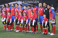 Costa Rica National Team during the signing of the National Anthem.   The USMNT tied Costa Rica 2-2 on the final game of the 2010  FIFA World Cup Qualifying round at RFK Stadium,Wednesday  October 14 , 2009.