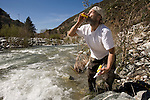 Richard  A. Skow living on and panning for gold out of the East Fork River in California, Tuesday, March3, 2009.  During the last year Richard lost his job in construction and since has been living on the river looking for gold. ..
