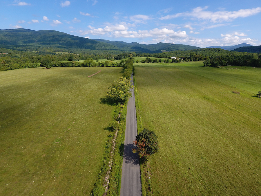 A two lane country road located in Greene County, Virginia. Photo/Andrew Shurtleff