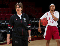Stanford, CA., March 25, 2013,--Stanford women's basketball head coach Tara VanDerveer and player Jasmine Camp, during team practice for there second round NCAA 2013 basketball championship game against Michigan on Monday, March 25, 2013, at Maples Pavilion.  ( Norbert von der Groeben )