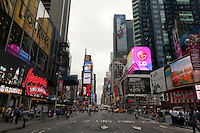 looking North in Times Square in New York City