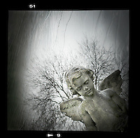 Stone cherub memorial