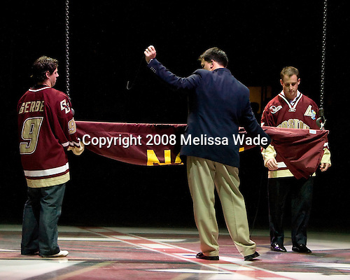 Nate Gerbe, Matt Conway, Matt Greene - The Boston College Eagles defeated the University of Wisconsin Badgers 5-4 on Friday, October 10, 2008 after raising their 2008 National Championship banner at Kelley Rink in Conte Forum in Chestnut Hill, Massachusetts.
