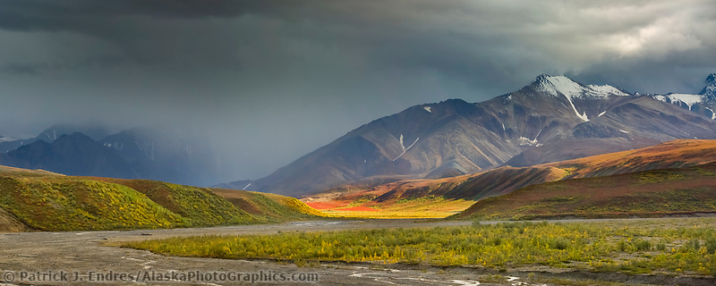 Panorama of autumn colors over the tundra, East Fork river, Denali National Park, Interior, Alaska.