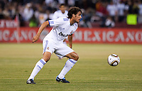 Pedro Leon kicks the ball. Real Madrid defeated Club America 3-2 at Candlestick Park in San Francisco, California on August 4th, 2010.