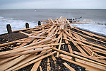 The beach at Worthing West Sussex England. Planks of wood from the freighter the &quot;Ice Prince&quot; which sank in rough weather on January 15th