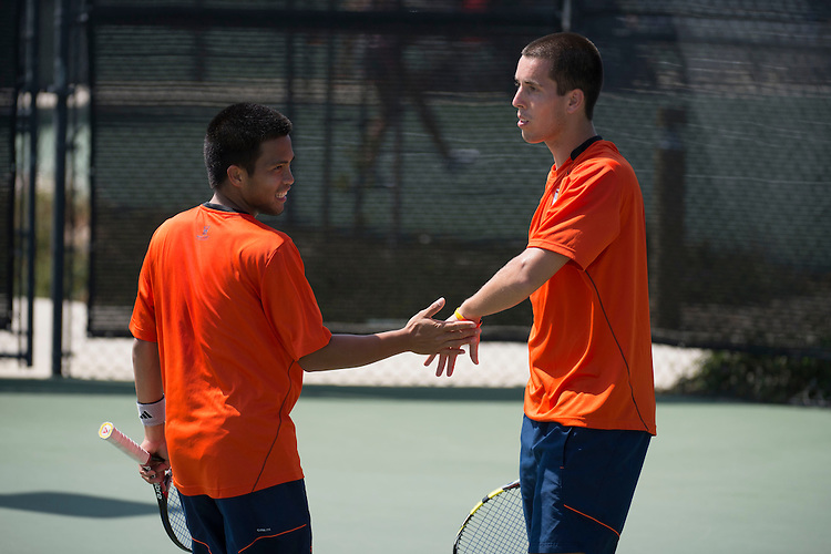 April 27, 2013; San Diego, CA, USA; Pepperdine Waves players Francis Alcantara (left) and Sebastian Fanselow (right) during the WCC Tennis Championships at Barnes Tennis Center.