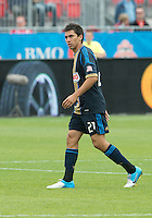 15 September 2012: Philadelphia Union midfielder Zach Pfeffer #27 in action during an MLS game between the Philadelphia Union and Toronto FC at BMO Field in Toronto, Ontario..The game ended in a 1-1 draw..