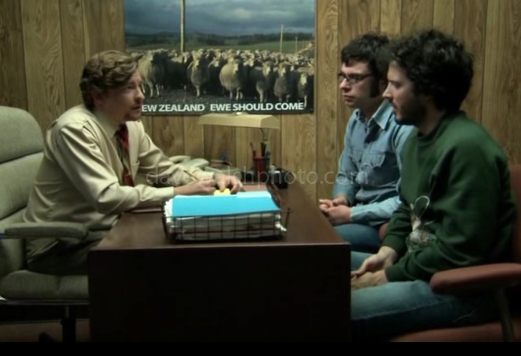 Sheep images used in HBO Series Flight of the Conchords. Photograph on wall of Murray Hewitt's office taken by Dave Walsh<br /> &quot;New Zealand: Ewe Should Come&quot;, episode #16 (Series 2, episode 6) &quot;Love Is A Weapon Of Choice&quot;