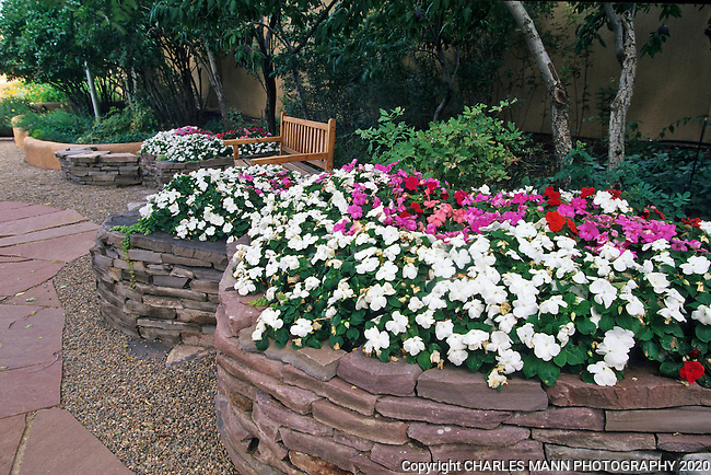 Susan Blevins of Taos, New Mexico, created an elaborate home garden featuring containers, perennial beds, a Japanese themed path and a regional style that reflectes the Spanish and pueblo architecture of the area. Anasazi style raised stone beds contain mounds of colorful Impatiens  in theshady walls under some Amur maples.