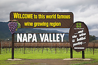 USA. California state. Napa valley. Welcome sign near the Robert Mondavi Winery, To Kalon Vineyard. View on the vineyard and the Mayacamas hills. Robert Gerald Mondavi (June 18, 1913 – May 16, 2008) was a leading California vineyard operator whose technical improvements and marketing strategies brought worldwide recognition for the wines of the Napa Valley in California. 16.12.2014 © 2014 Didier Ruef