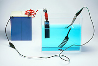 COPPER PLATING APPARATUS<br /> Copper plating a fork<br /> (1 of 2)<br /> Copper sulfate solution  breaks into copper ions (Cu2+) and sulfate ions (SO42-). When electric current flows the solution, Cu2+ bonds with negatively charged metal.