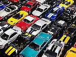 Diecast toy car models, colorful classic and sports cars