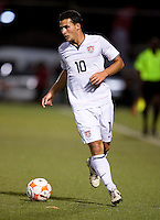 Duka Dilly dribbles the ball. US Under 20 Men's National Team played to a scoreless draw vs Trinidad & Tobago, advancing after winning 4-3 on penalty kicks at the Marvin Lee Stadium in Macoya, Trinidad on March 13th, 2009 during the 2009 CONCACAF U-20 Championship.