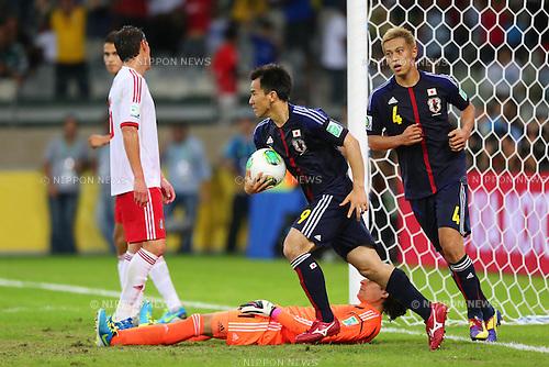 (L to R) Shinji Okazaki, Keisuke Honda (JPN), <br /> June 22, 2013 - Football / Soccer : <br /> FIFA Confederations Cup Brazil 2013, Group A <br /> match between Japan 1-2 Mexico <br /> at Estadio Mineirao, Belo Horizonte, Brazil. <br /> (Photo by Daiju Kitamura/AFLO SPORT) [1045]