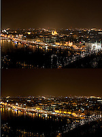 """The combination photo taken on March 26, 2011 shows the general view of Budapest before (Top) and during the """"Earth Hour"""" in Budapest, Hungary. The """"Earth Hour"""", initiated by the World Wild Fund for Nature (WWF) in 2007, calls on families and buildings to turn off the lights for one hour on the last Saturday night of March."""