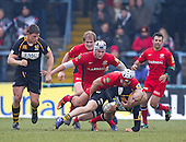 Schalk Brits of Saracens RFC wraps up Joe Simpson of London Wasps RFC - London Wasps RFC vs Saracens RFC - Aviva Premiership Rugby at Adams Park, Wycombe Wanderers FC - 12/02/12 - MANDATORY CREDIT: Ray Lawrence/TGSPHOTO - Self billing applies where appropriate - 0845 094 6026 - contact@tgsphoto.co.uk - NO UNPAID USE.