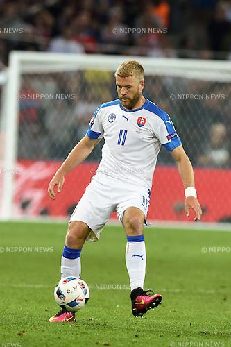 Adam Nemec (Slovakia) ; <br /> June 15, 2016 - Football : Uefa Euro France 2016, Group B, Russia 1-2 Slovakia at Stade Pierre Mauroy, Lille Metropole, France.; ;(Photo by aicfoto/AFLO)