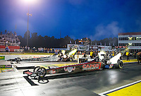 May 15, 2015; Commerce, GA, USA; NHRA top fuel driver Steve Torrence (near lane) races alongside Larry Dixon during qualifying for the Southern Nationals at Atlanta Dragway. Mandatory Credit: Mark J. Rebilas-USA TODAY Sports