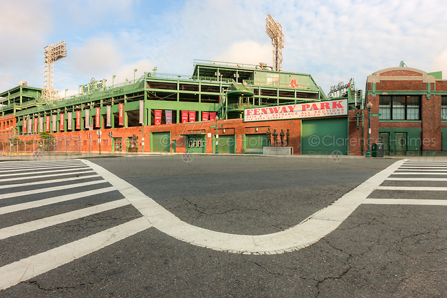 A view of historic Fenway Park in Boston, Massachusetts from just outside Gate B at the intersection of Ipswich and Van Ness streets