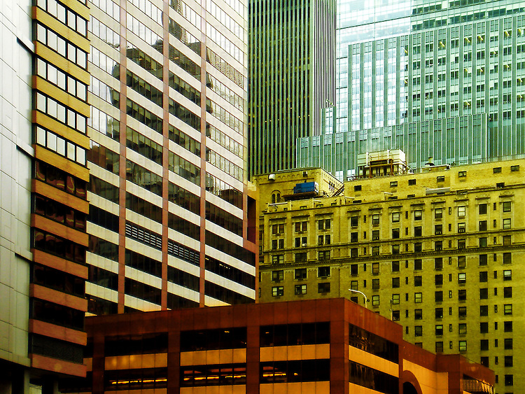 Buildings in Midtown Manhattan, most of them apartment buildings.