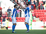 St Johnstone v Hearts&hellip;17.09.16.. McDiarmid Park  SPFL<br />Richie Foster celebrates at full time with Joe Shaughnessy<br />Picture by Graeme Hart.<br />Copyright Perthshire Picture Agency<br />Tel: 01738 623350  Mobile: 07990 594431