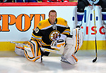24 January 2009: Boston Bruins goaltender Tim Thomas takes a break during the NHL SuperSkills Competition, part of the All-Star Weekend at the Bell Centre in Montreal, Quebec, Canada. ***** Editorial Sales Only ***** Mandatory Photo Credit: Ed Wolfstein Photo
