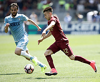 Calcio, Serie A: Roma, stadio Olimpico, 30 aprile 2017.<br /> AS Roma's Stephan El Shaarawy (r) in action with Lazio's Marco Parolo (l) during the Italian Serie A football match between AS Roma an Lazio at Rome's Olympic stadium, April 30 2017.<br /> UPDATE IMAGES PRESS/Isabella Bonotto