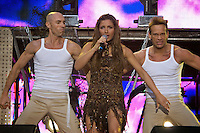 Kiev, Ukraine, 17/05/2005..The fiftieth Eurovision Song Contest..Eurovision winner Helena Paparizou of Greece performing at a charity concert in the Eurozone Club a few days before the final..