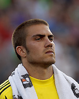Seattle Sounders FC goalkeeper Andrew Weber (33). In a Major League Soccer (MLS) match, the New England Revolution tied the Seattle Sounders FC, 2-2, at Gillette Stadium on June 30, 2012.