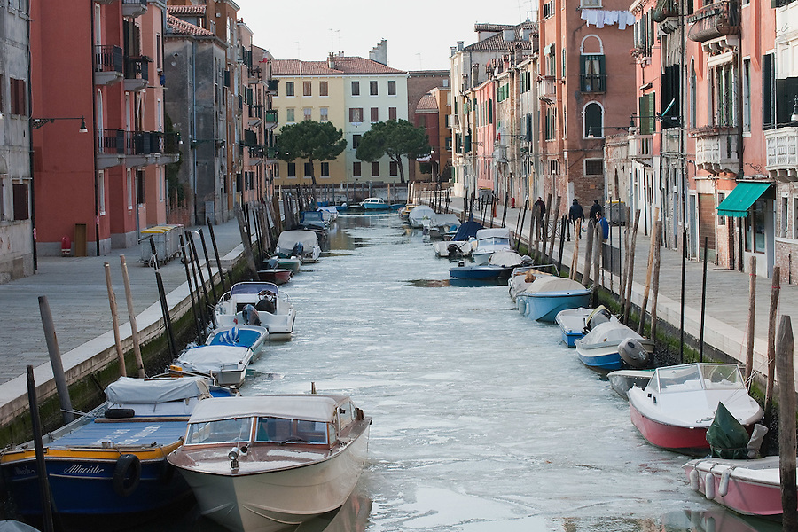 VENICE, ITALY - FEBRUARY 05:  Boats are resting on a frozen canal in Venice  on February 5, 2012 in Venice, Italy. Italy as most of Europe is under a spell of very cold weather, it is more than 20 years aince the Venice Lagoon last froze.  (Photo by Marco Secchi/Getty Images)