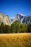 CA: Yosemite National Park, Half Dome, Yosemite valley     .Photo Copyright: Lee Foster, lee@fostertravel.com, www.fostertravel.com, (510) 549-2202.cayose215