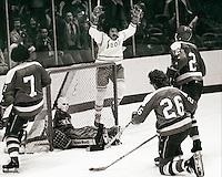 California Seal Wayne King celebrates a goal against the Washington Capitals, Yvon Labre, Jack Lynch Nelson Pyatt and goalie Bernie Wolfe 1976. photo/Ron Riesterer