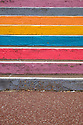 The multi-coloured stripes of the painted steps on the seafront between St Leonards-On-Sea and Hastings, form an abstract pattern.
