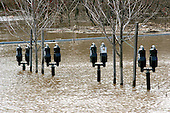 A parking lot in Lambertville, NJ is under water on Monday April 4, 2005 after heavy rains over the weekend caused major flooding in much of the state. Jane Therese for The New York Times.