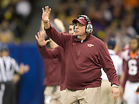Virginia Tech defensive line coach Charley Wiles is pictured during Sugar Bowl game against Michigan at Mercedes-Benz SuperDome in New Orleans, Louisiana on January 3rd, 2012.  Michigan defeated Virginia Tech, 23-20 in first overtime.