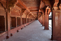 Cloisters of Northern Palace of the Haramsala, Birbal's House harem at Fatehpur Sikri city of Mughals, at Agra, India
