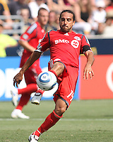 Dwayne De Rosario #14 of Toronto FC sends over a pass during an MLS match against the Philadelphia Union at PPL stadium in Chester, Pa. on July 17 2010. Union won 2-1 on a last minute penalty kick goal.