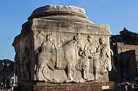 Relief depicting the religious sacrifice of a boar, a sheep and a bull to the State gods on the Decennalia Base, part of a five columns monument which was originally placed behind the imperial Rostra, Roman Forum, 303 AD, Rome, Italy, Europe.
