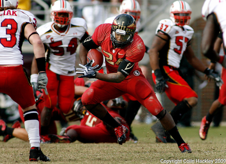 TALLAHASSEE, FL 11/21/09-FSU-MARY FB09 CH66-Florida State's Lonnie Pryor tries to thread through a pack of Maryland defenders during second half action Saturday at Doak Campbell Stadium in Tallahassee. The Seminoles beat the Terrapins 29-26..COLIN HACKLEY PHOTO