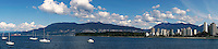 Panorama of English Bay, West End skyline, Stanley Park, West Vancouver, and North Shore Mountains, Vancouver, BC, Canada