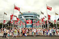 Scene-setter photo from the 2012 Coca-Cola 600 NASCAR Sprint Cup race held May 27 (Memorial Day Sunday) at the Charlotte Motor Speedway in Concord, NC. The annual 600-mile (965.606 km) race, first held in 1960, is the longest race sanctioned by NASCAR. Quaker State Chevrolet driver Kasey Kahne, with the Hendrick Motorsports group, won the race, finishing nearly five seconds ahead of Denny Hamlin. It was Kahne's 13th career win.