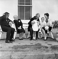 At Aras an Uachtarain, Sinead, Bean de Valera and President de Valera help Prince Rainier and Princess Grace with looking after Prince Albert and Princess Caroline. .14.06.1961