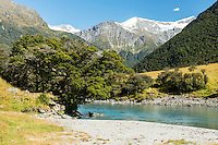 Matukituki River and mountains, Central Otago, South Island, New Zealand