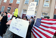 Washington, DC - February 10, 2017: Parents and protestors stand in front of the Jefferson Jefferson Middle Academy in the District of Columbia, February, 10, 2017, before the arrival of Secretary of Education Betsy DeVos.  (Photo by: Don Baxter/Media Images International)