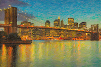 The Brooklyn Bridge, East River, South Street Seaport, and lower Manhattan skyline at dusk, as seen from Brooklyn Bridge Park. The image was creatively modified to resemble a painting.