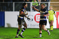 Jeff Williams of Bath Rugby celebrates his try with team-mate Rory Jennings. Anglo-Welsh Cup match, between Bath Rugby and Leicester Tigers on November 4, 2016 at the Recreation Ground in Bath, England. Photo by: Patrick Khachfe / Onside Images