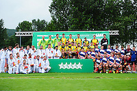 The France, Australia and Great Britain Men's teams pose for a photo after the competition. FISU World University Championship Rugby Sevens Closing Ceremony on July 9, 2016 at the Swansea University International Sports Village in Swansea, Wales. Photo by: Patrick Khachfe / Onside Images