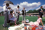 Old Harrovians alfresco picnic, during the lunch break of the Eton Harrow Cricket match. The men are in school colours.